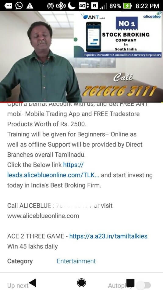 Tamil Talkis affilate marketer on YouTube