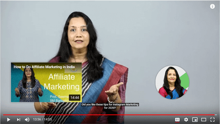 How to do AffiliateMarketing video- example of end screen on YouTube